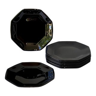 Modern Arcoroc France 'Black Octime' Opaque Glass Salad Plates - Set of 12 For Sale