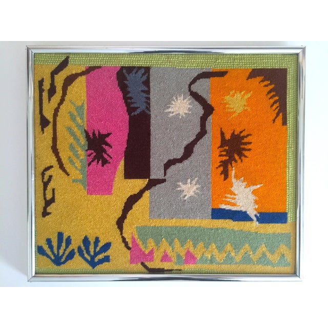 """Vintage Mid Century Modern Henri Matisse """"Cut Outs"""" Framed Hand Needlepoint Art For Sale - Image 10 of 10"""