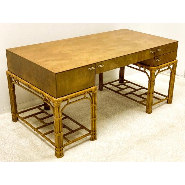 Wood Henredon Circa East Burlwood & Bamboo Modern Desk For Sale - Image 7 of 10