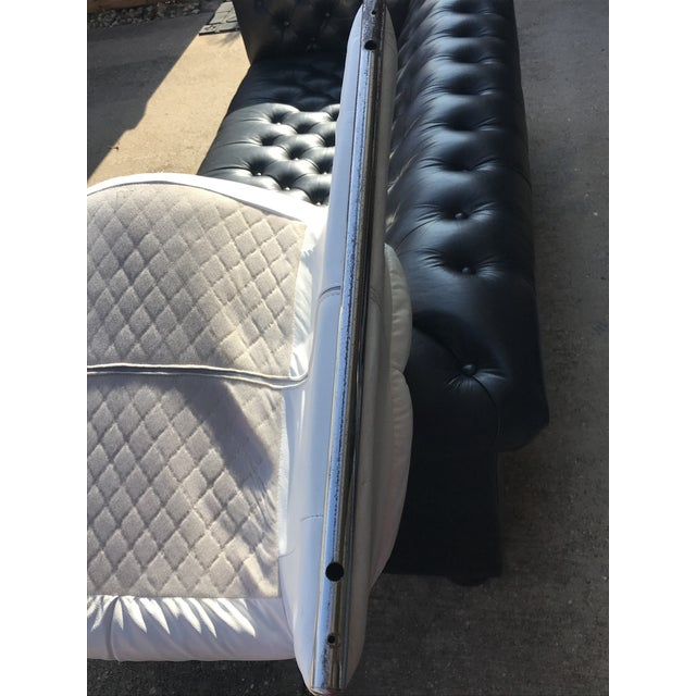 Black Black and White Vintage Leather Italian Lounge Chairs - a Pair For Sale - Image 8 of 12