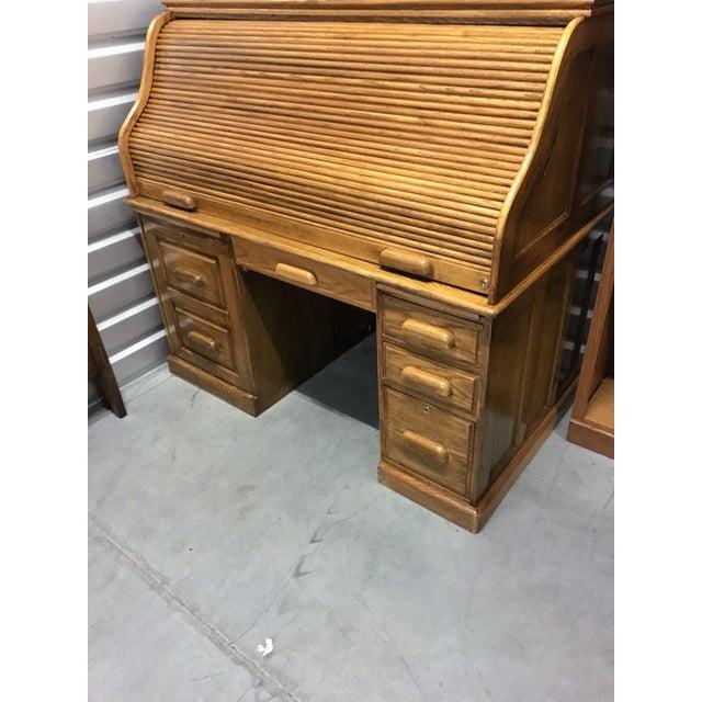 Large Solid Oak Roll Top Desk - Image 4 of 10