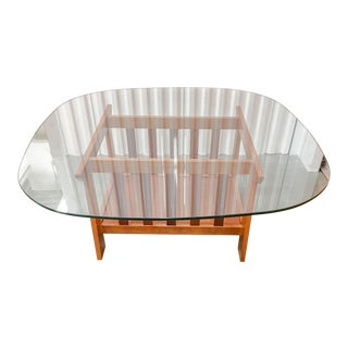 Modern Oak Glass Top Coffee Table For Sale