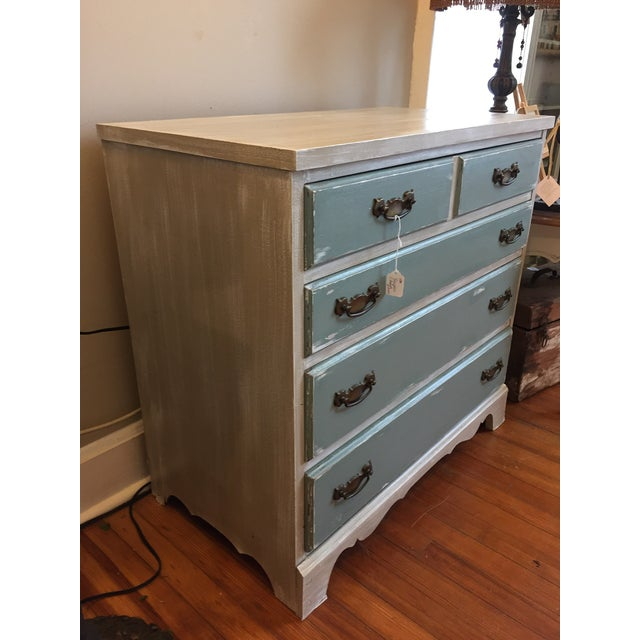 Gray & Teal Distressed Dresser - Image 4 of 5