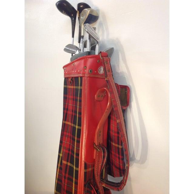 Vintage 1960s Red Tartan Spalding Golf Bag & Clubs - Image 5 of 7