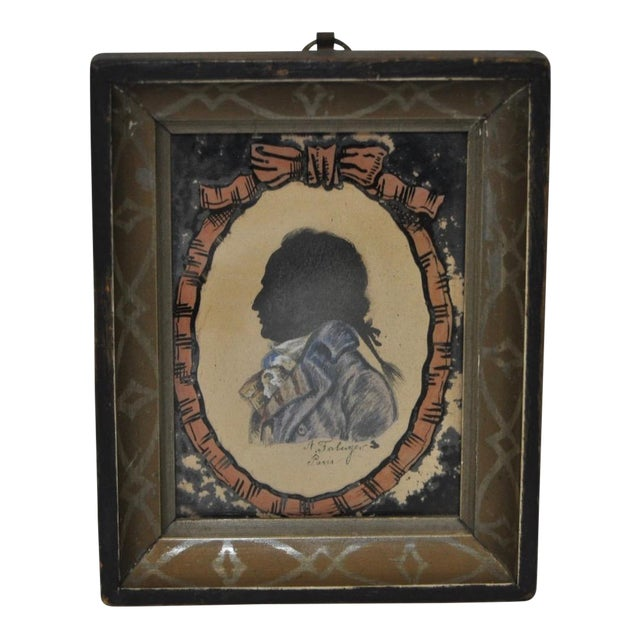 18th C. Gentleman's Silhouette Portrait For Sale