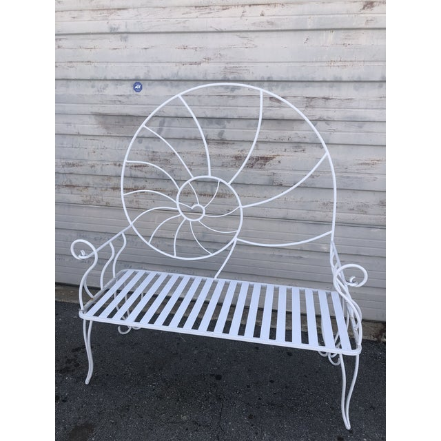 Nautical Shell Wrought Iron Art Nouveau Garden Bench For Sale - Image 9 of 10