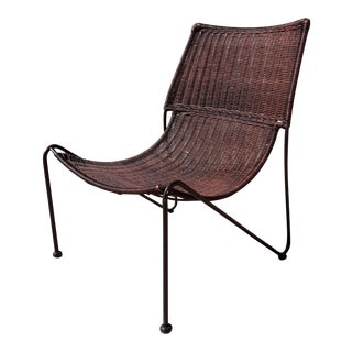 Vintage Mid Century Woven Rattan & Wrought Iron Slipper Chair For Sale