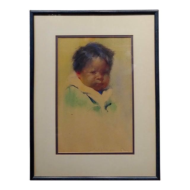 """Gerald Cassidy """"Portrait of a Pueblo Boy"""" Taos Painting C.1916 For Sale"""