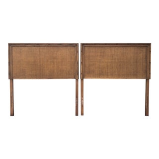 Midcentury Twin Faux Bamboo and Woven Cane Headboards - a Pair For Sale
