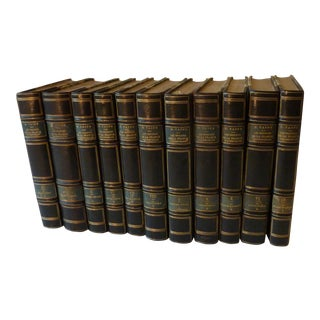 French Leather Bound History Books - 11 Volumes For Sale