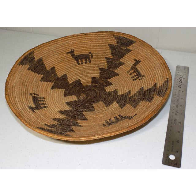 Brown Antique Native American Apache Woven Polychrome Horses Basket Bowl For Sale - Image 8 of 10
