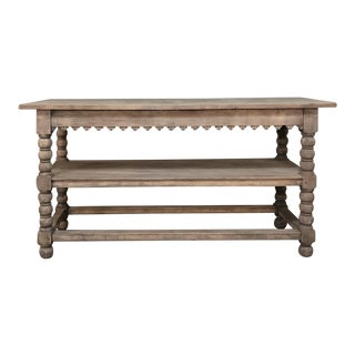 Early 19th Century Rustic Renaissance Stripped Oak Counter ~ Drapery Table For Sale