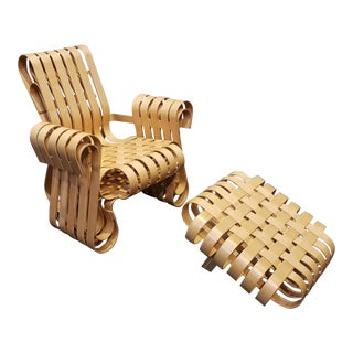 Power Play Chair and Ottoman by Frank Gehry for Knoll For Sale