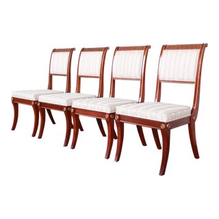 Baker Furniture Neoclassical Greek Key Dining Chairs - Set of 4 For Sale