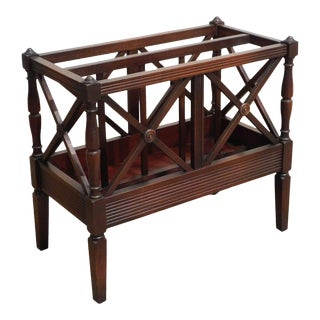 Lord & Taylor Regency Style Vintage Mahogany X Form Magazine Rack Canterbury For Sale
