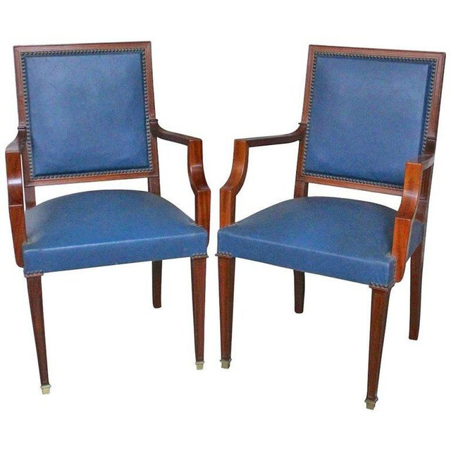 Pair of French, 1940s Mahogany and Leather Armchairs For Sale - Image 10 of 10