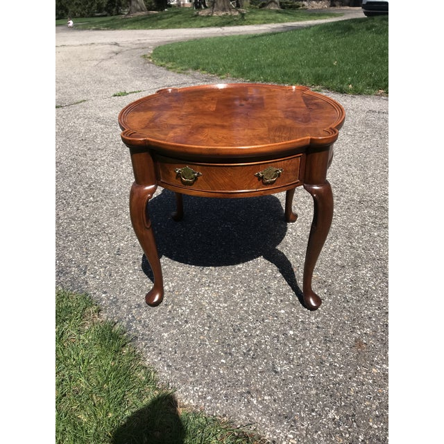 Traditional Queen Anne Walnut Side Table by Hekman For Sale - Image 6 of 6