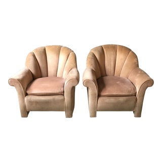1980s Art Nouveau Hickory Highland House Shell Back Arm Chairs - a Pair