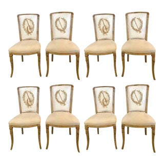Set of Eight Maison Jansen Dining Chairs Each Having a Custom Painted Back Rest