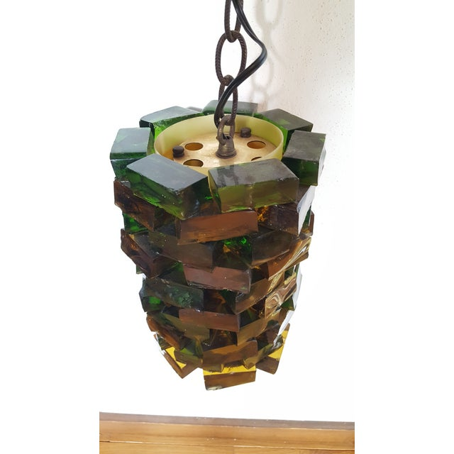 Mid-Century Glass Block Chandelier Light For Sale - Image 4 of 6