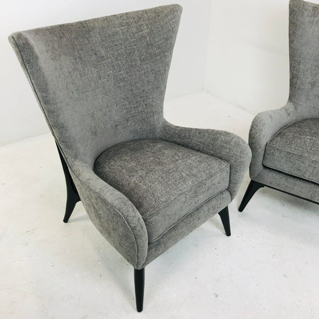 "Caracole ""What's New Pussycat"" Mid-Century Modern Wingback Chairs - a Pair For Sale In Dallas - Image 6 of 10"