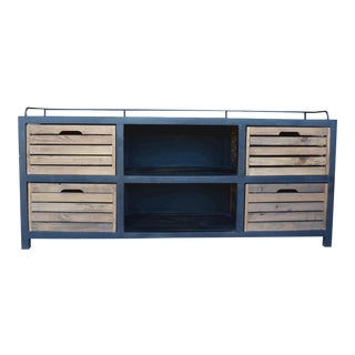 Rustic Wood and Metal Buffet With Drawers For Sale