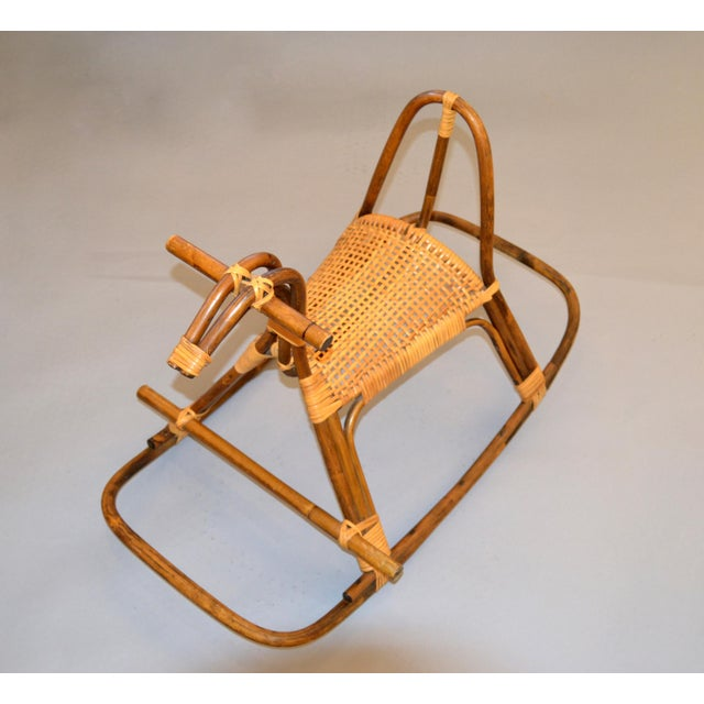 Franco Albini 1960s Rattan and Bamboo Rocking Horse Sculpture Inspired by Franco Albini For Sale - Image 4 of 13