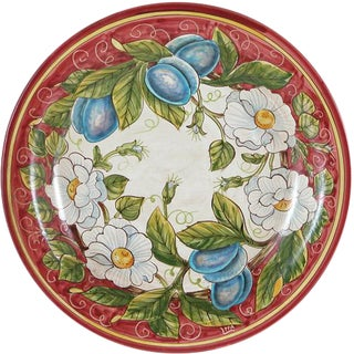 Italian Hand Painted Ceramic Wall Plate For Sale