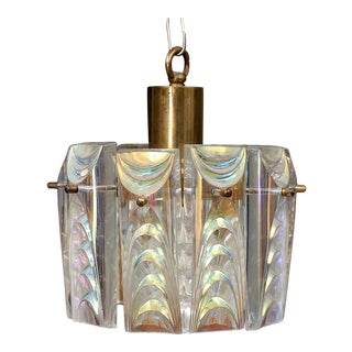 Structured Iridescent Glass Pendant Chandelier For Sale