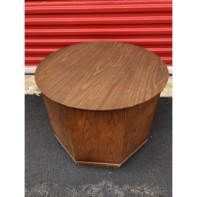 1960s 1960s Mid Century Modern Round End Table With Storage Cabinet For Sale - Image 5 of 10