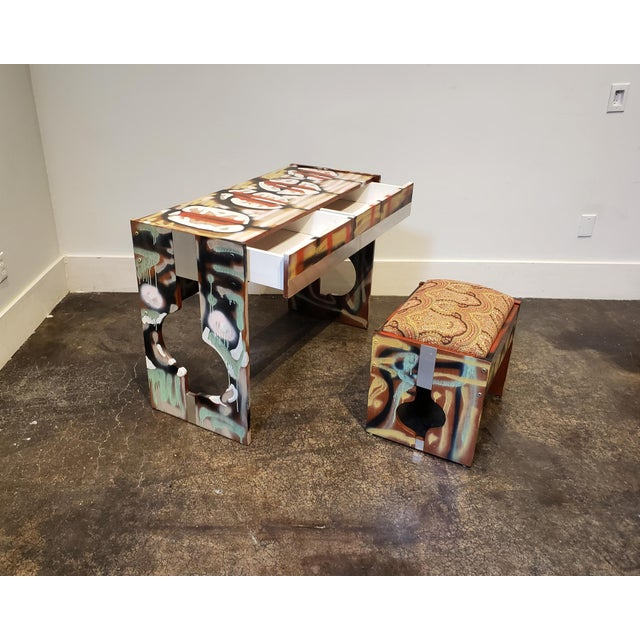 Mid-Century Modern Graffitied Artist Painted 1970s Desk or Vanity - a Pair For Sale - Image 3 of 10