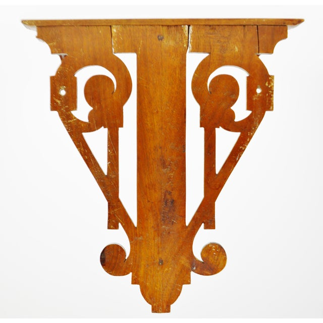 Vintage Scrolled Mahogany Wall Shelf - Image 9 of 11