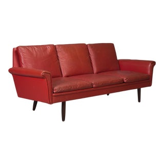 1960s Vintage Red Leather Danish Modern Sofa For Sale