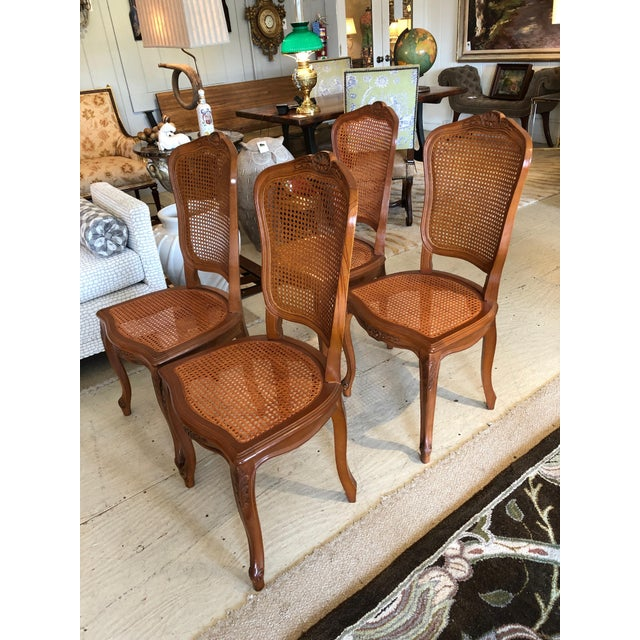 1950s Vintage Classic French Style Caned and Wood Side Dining Chairs- Set of 4 For Sale - Image 13 of 13