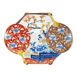Antique Chinese Imari Fan Shaped Serving Dish/Charger Circa 1920's For Sale