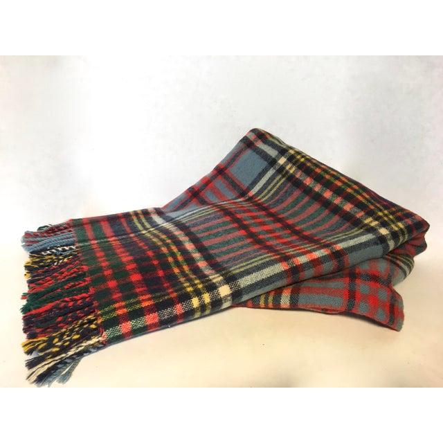 Vintage English Plaid Wool Blanket - Image 2 of 7