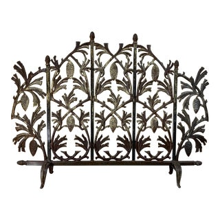 Iron Pinecone Fireplace Screen For Sale
