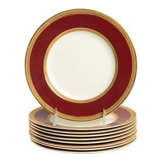 Crown Ducal Oxford Burgundy Luncheon Plate - Set of 8 For Sale