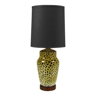 Large Italian Ceramic Leopard Glazed Table Lamp