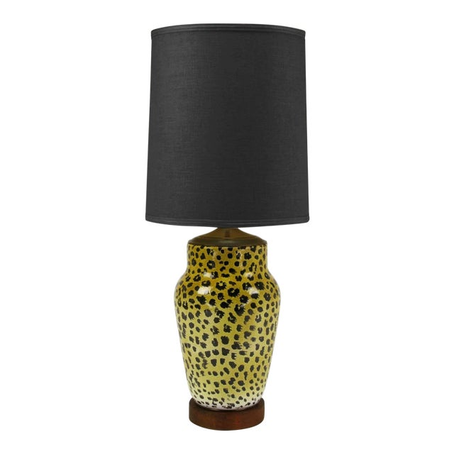 Large Italian Ceramic Leopard Glazed Table Lamp For Sale