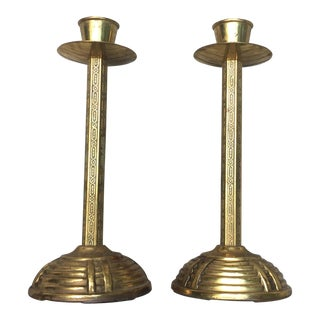 Art Deco Brass Candle Holders - A Pair