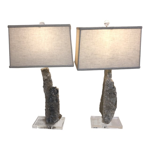 One of a Kind Crystal Lamps - a Pair For Sale