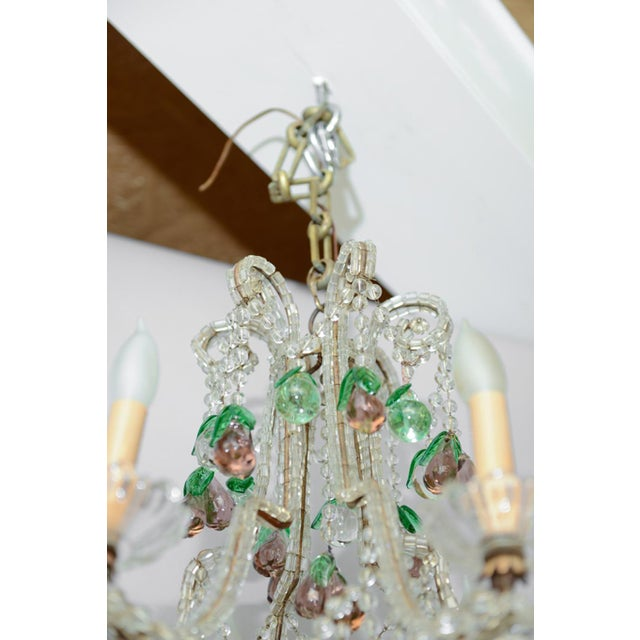Early 20th Century Italian Maria Theresa Six-Light Chandelier Adorned with Amethyst Glass Pears For Sale - Image 5 of 8