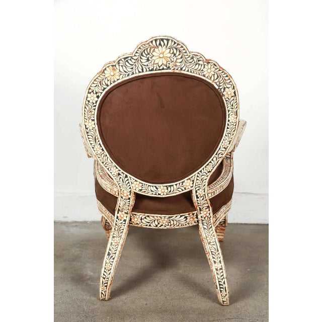 Bone Early 20th Century Vintage Bone Inlaid Anglo-Indian Armchair For Sale - Image 7 of 8