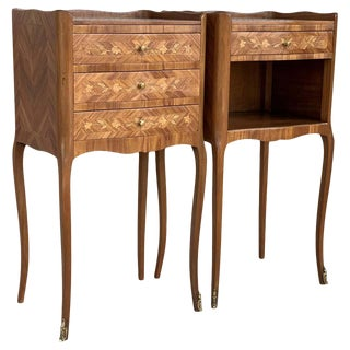 Pair of French Marquetry Walnut Bedside Matching Tables With Drawers For Sale