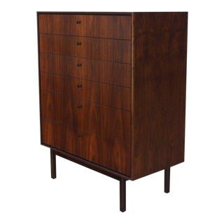 Bookmached Wood Grain Oiled Walnut 6 Drawers Tall High Chest Dresser For Sale
