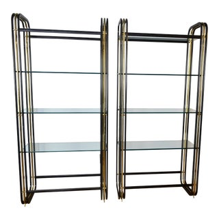1980s Mid-Century Modern Black and Brass Etagere Bookcases - a Pair For Sale