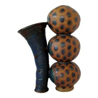 Artisan Ceramic Double Vase For Sale