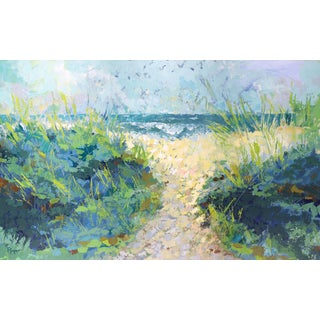 """""""Ocean Breezes"""" Contemporary Expressionist Style Beach Scene Acrylic Painting For Sale"""
