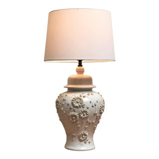 1960s Vintage Italian Chinoiserie Blanc De Chine Ceramic Table Lamp